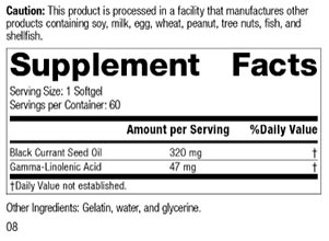 Chiropractic Brooklyn NY Black Currant Seed Oil Family Nutrition Label