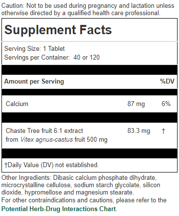 Chiropractic Brooklyn NY Chaste Tree Supplement Facts
