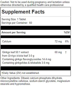 Chiropractic Brooklyn NY Ginkgo Forte Nutrition Label